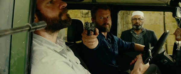 """Rone"" (James Badge Dale) draws a Salient Arms International Glock 19 Tier 1 pistol and Jack draws his SIG-Sauer during a confrontation."
