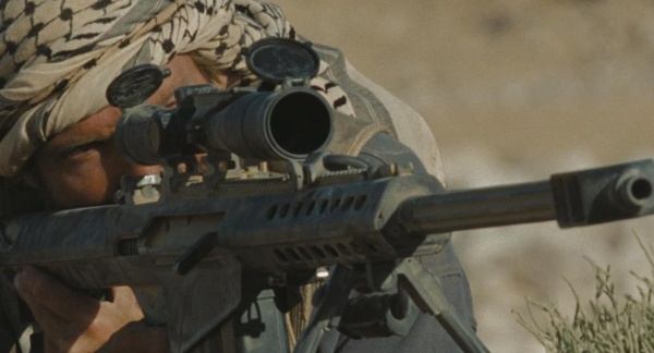 The PMC leader takes aim with the M82A1.
