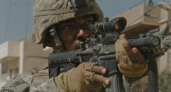 In the opening scene of the film, Sgt. Sanborn (Anthony Mackie) covers the area with his M4 at the ready.